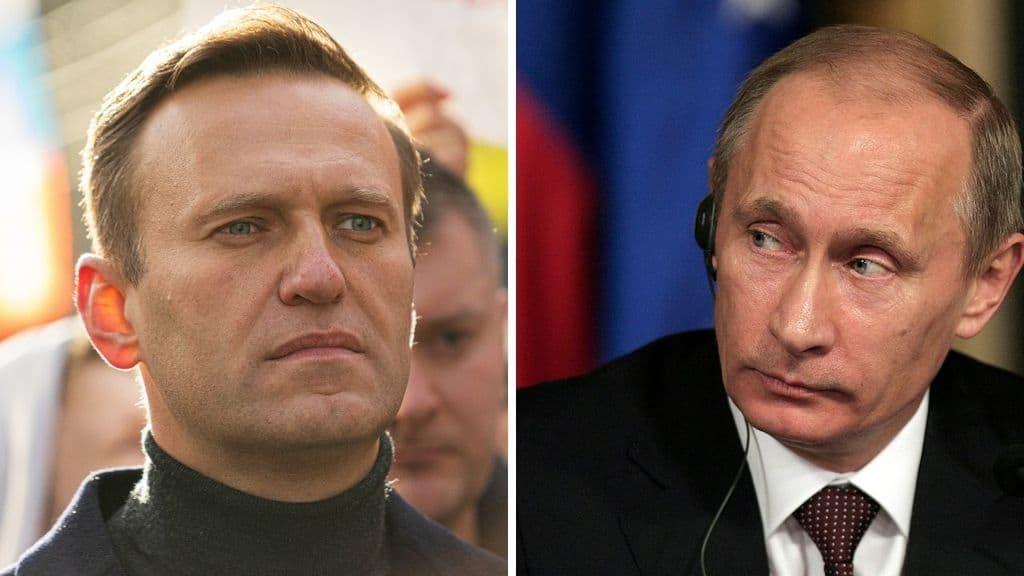 Alexei Navalny e Vladimir Putin in primo piano