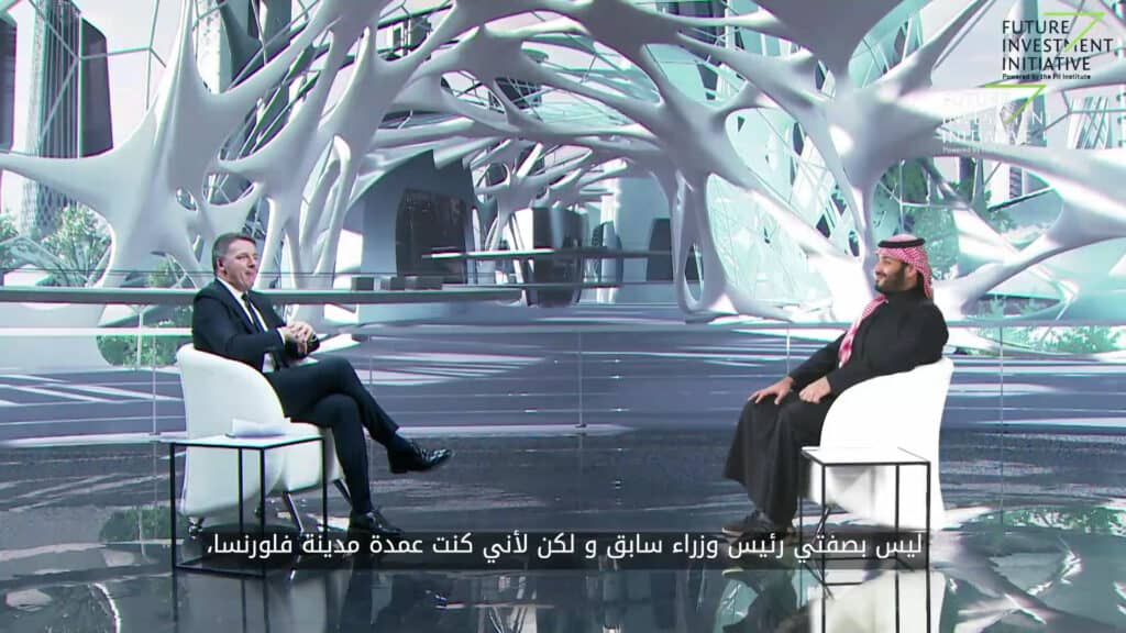 Matteo Renzi con il principe ereditario saudita Mohammed bin Salman