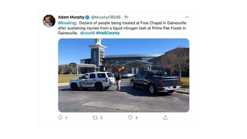 Il tweet di un cronista davanti all'impianto di Ganesville