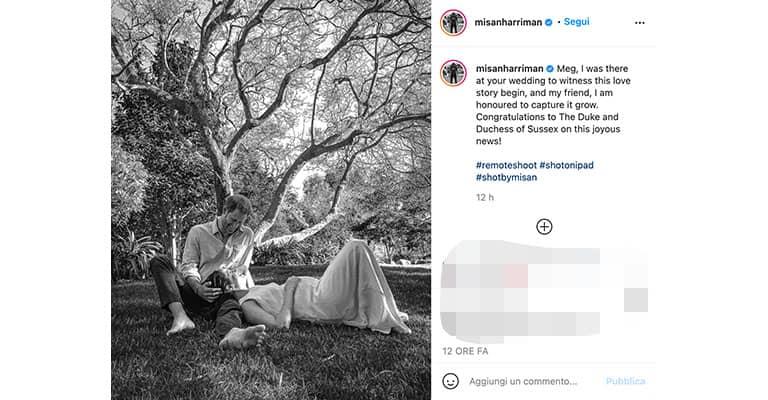 Harry Meghan, l'annuncio della gravidanza su Instagram