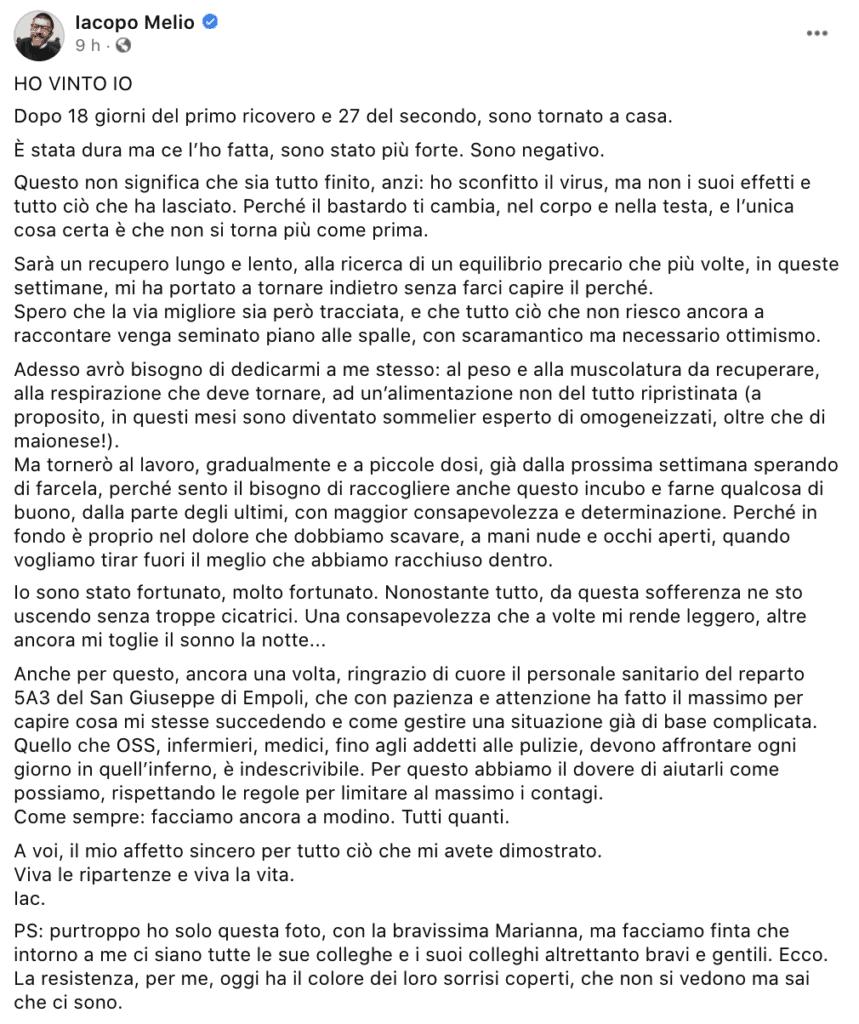 Il post Facebook di Iacopo Melio