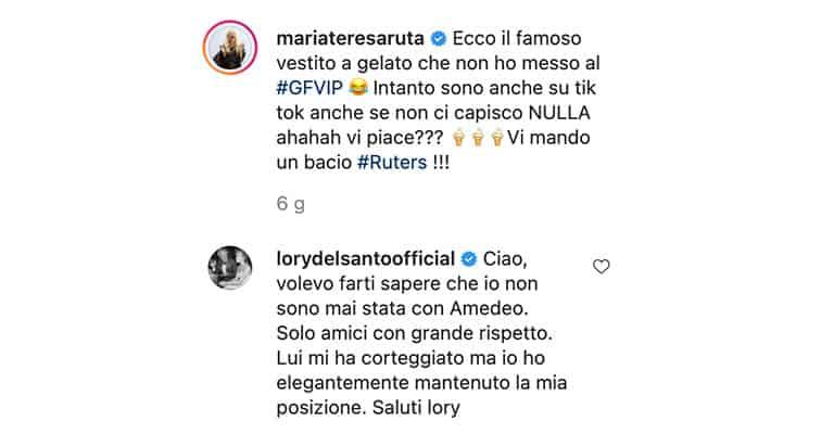 Messaggio di Lory Del Santo sull'Instagram di Maria Teresa Ruta