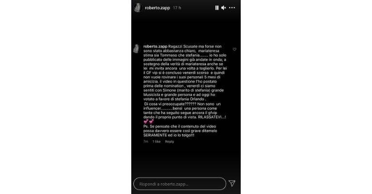 Roberto Zappulla Storia Instagram