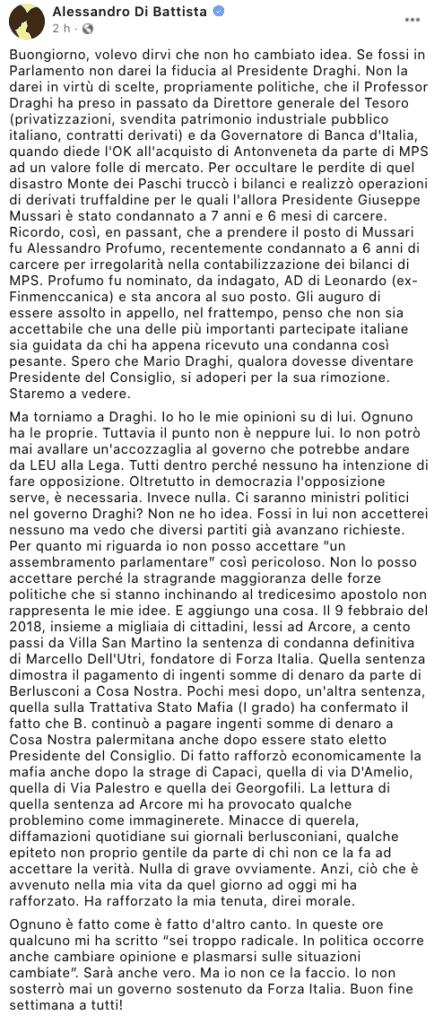 Il post Facebook di Alessandro Di Battista