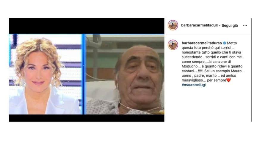 Barbara d'Urso e Mauro Bellugi in collegamento tv