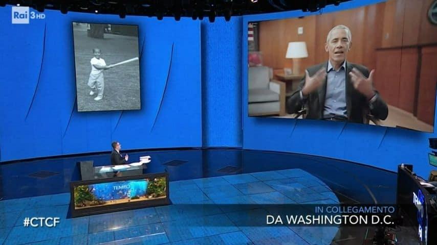 Fabio Fazio e Barack Obama commentao la foto del Presidente da bambino