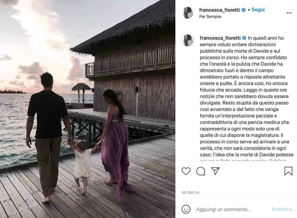 Francesca Fioretti, post instagram