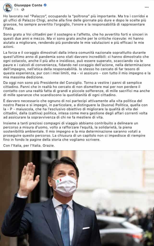 Il post Facebook di Giuseppe Conte