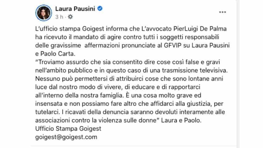 Il comunicato di Laura Pausini
