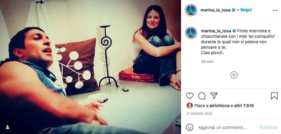 Marina La Rosa, post instagram con Pietro Taricone