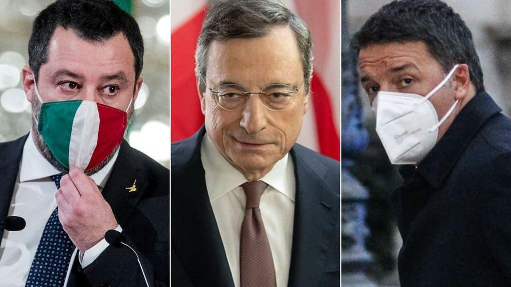 Matteo Salvini, Mario Draghi e Matteo Renzi