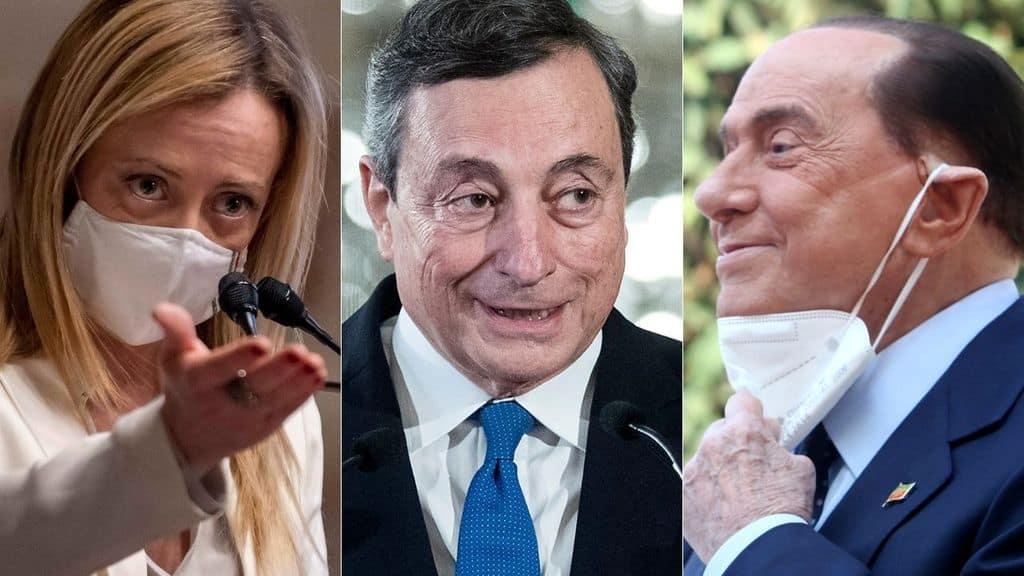 Giorgia Meloni, Mario Draghi e Silvio Berlusconi