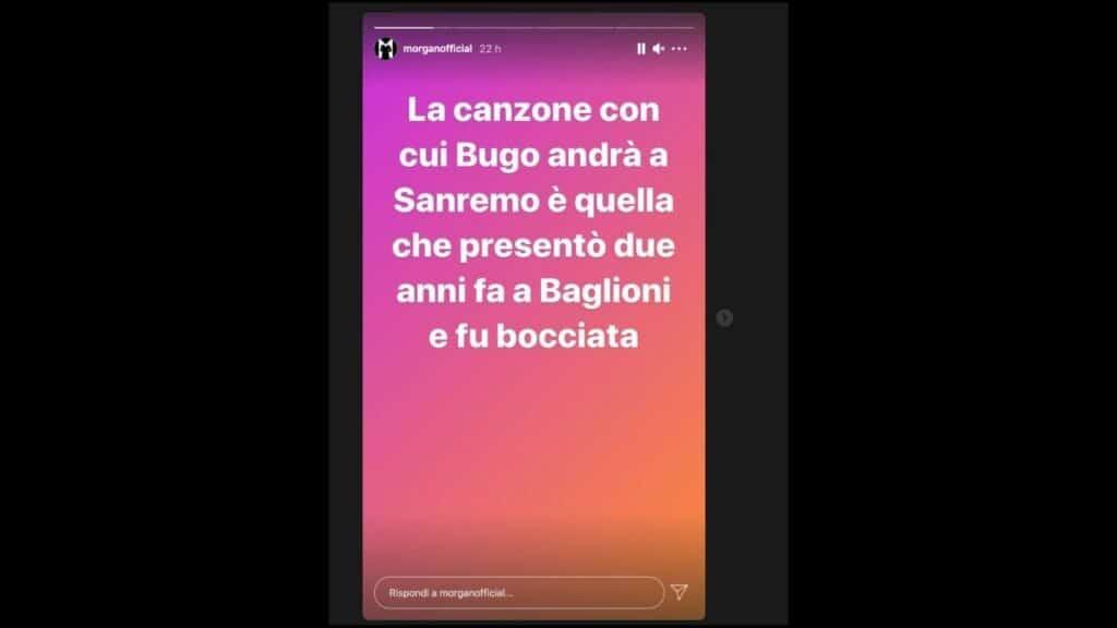 morgan contro bugo su instagram