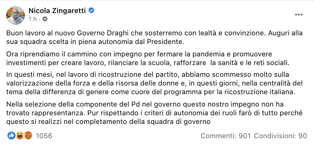Il post Facebook di Nicola Zingaretti