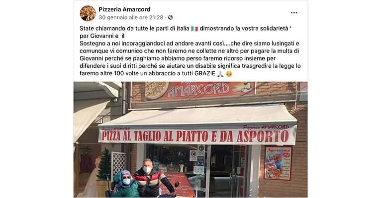 post della pizzeria Amarcord su Facebook