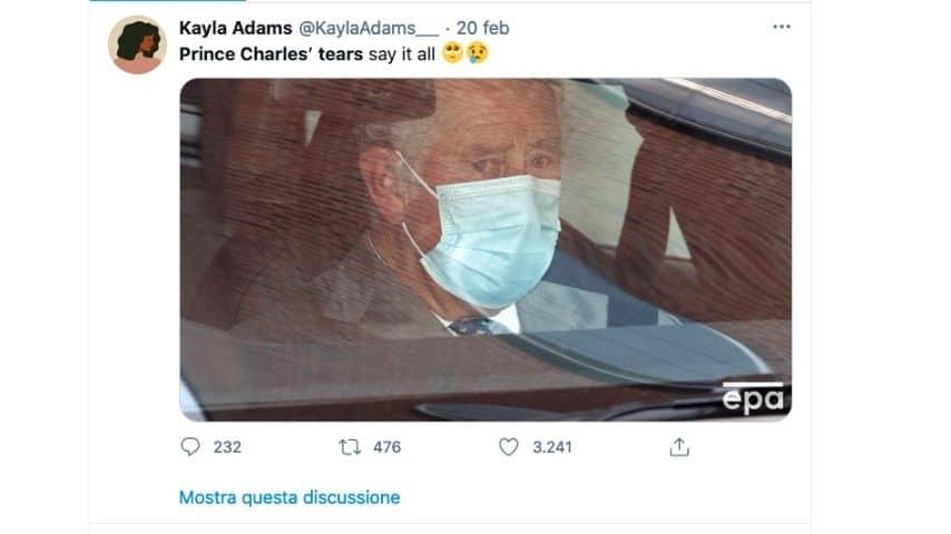 Il principe Carlo lascia l'ospedale in lacrime
