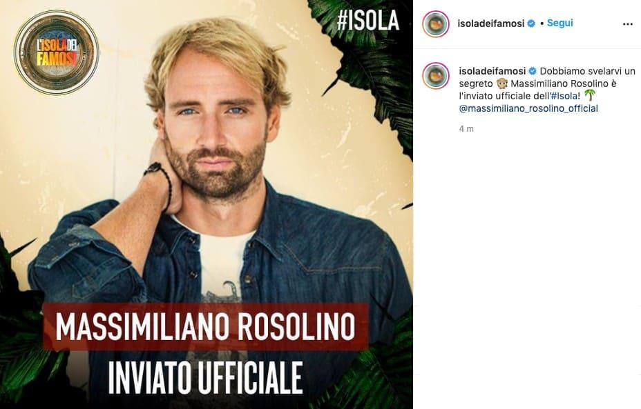 Massimiliano Rosolino, post del profilo dell'Isola dei Famosi