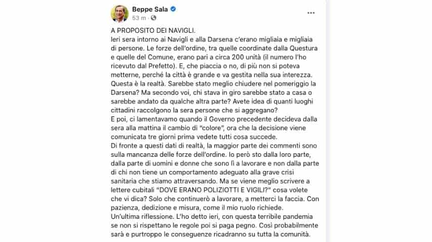 Il commento del sindaco Sala sul maxi-assembramento