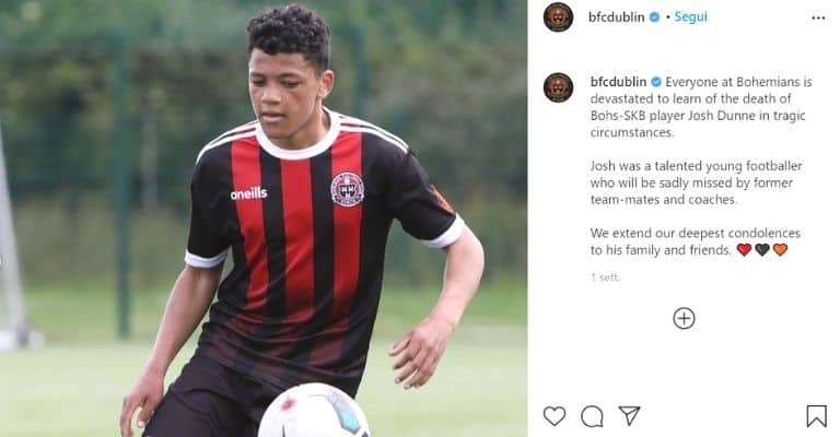 Il post di cordoglio del Bohemian FC