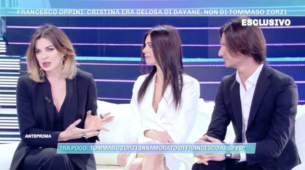 Alba Parietti con Francesco Oppini e Cristina Tomasini a Domenica Live