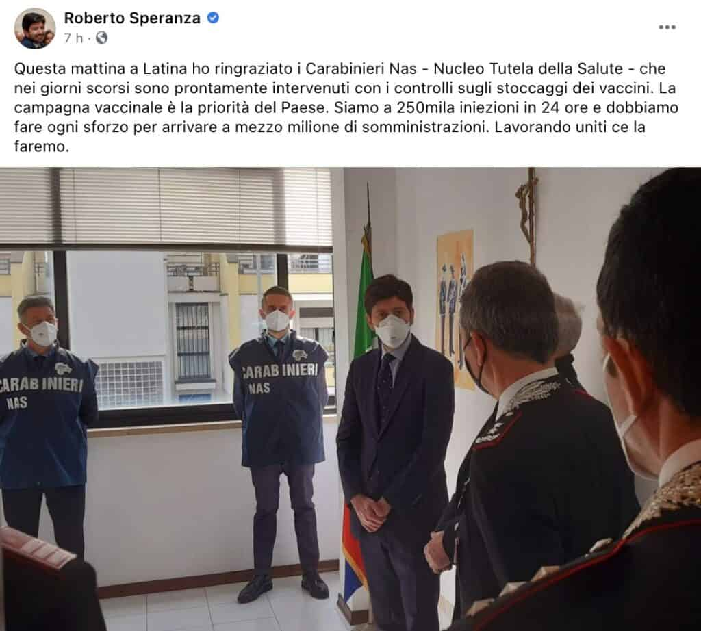 Il post del ministro Speranza