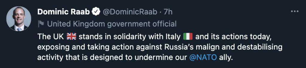 Il tweet di Dominic Raab