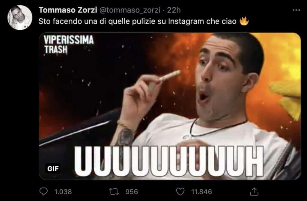 Il tweet di Tommaso Zorzi