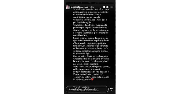 Instagram Story Guendalina Tavassi