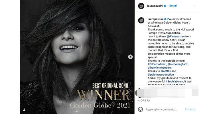 Post di Laura Pausini su Instagram