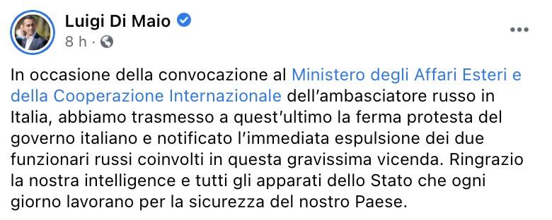 Il post del ministro Luigi Di Maio