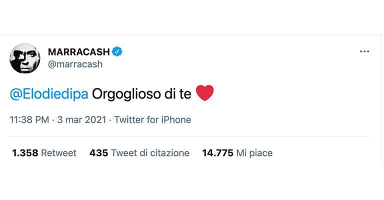 Tweet di Marracash per Elodie