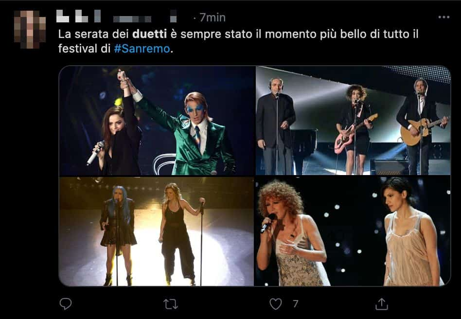 Un tweet sui duetti a Sanremo