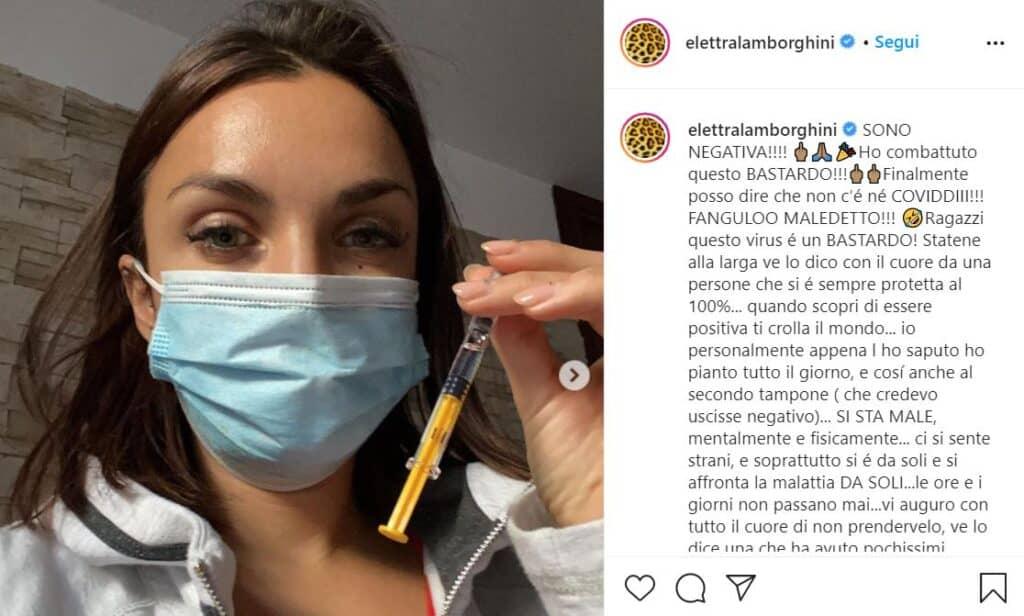 Elettra Lamborghini, post Instagram, negativa al covid