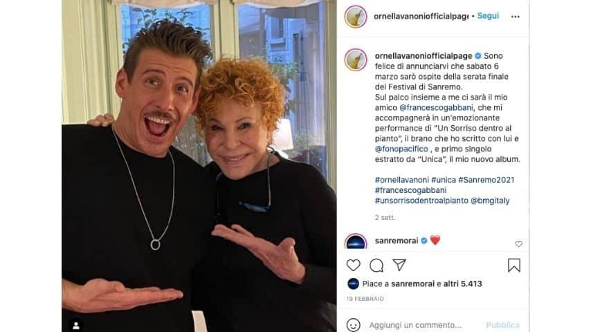 Ornella Vanoni e Francesco Gabbani su Instagram annunciano la partecipazione a Sanremo come ospiti