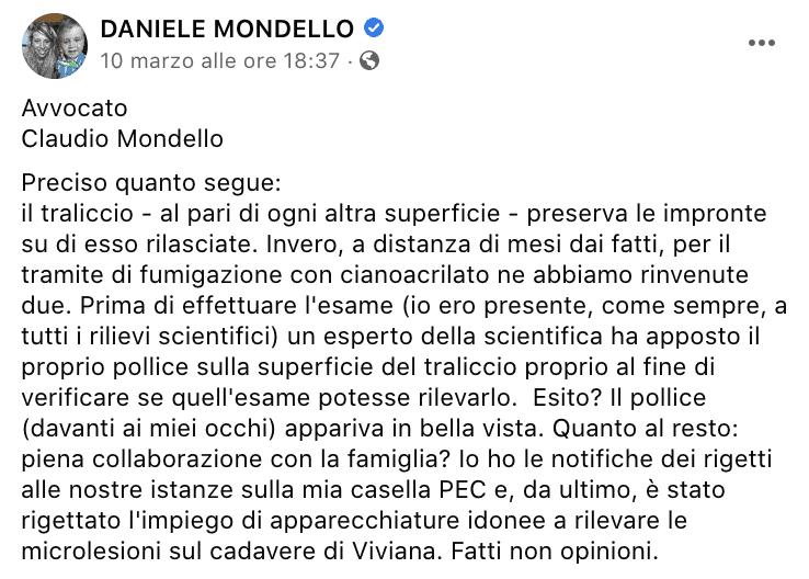 Il post sul profilo di Daniele Mondello
