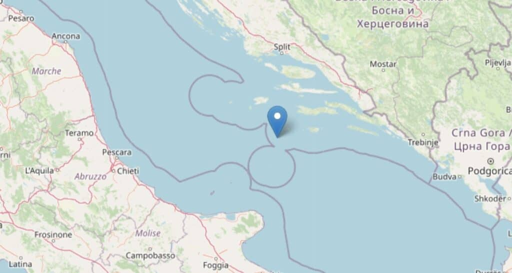 La localizzazione del terremoto. Fonte: Ingv