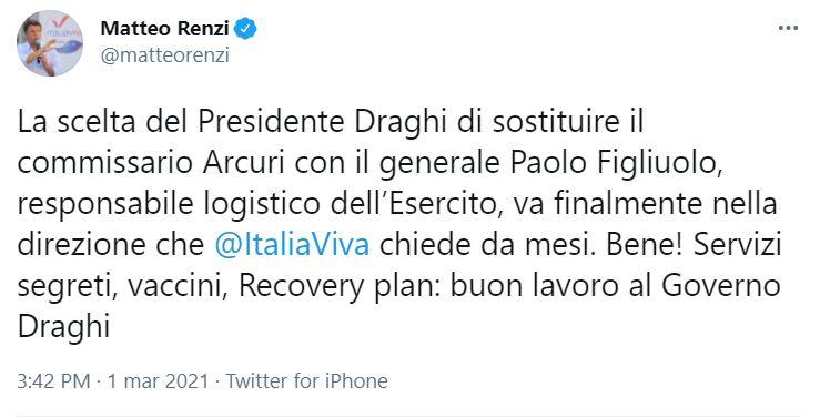 Matteo Renzi, il messaggio su Twitter