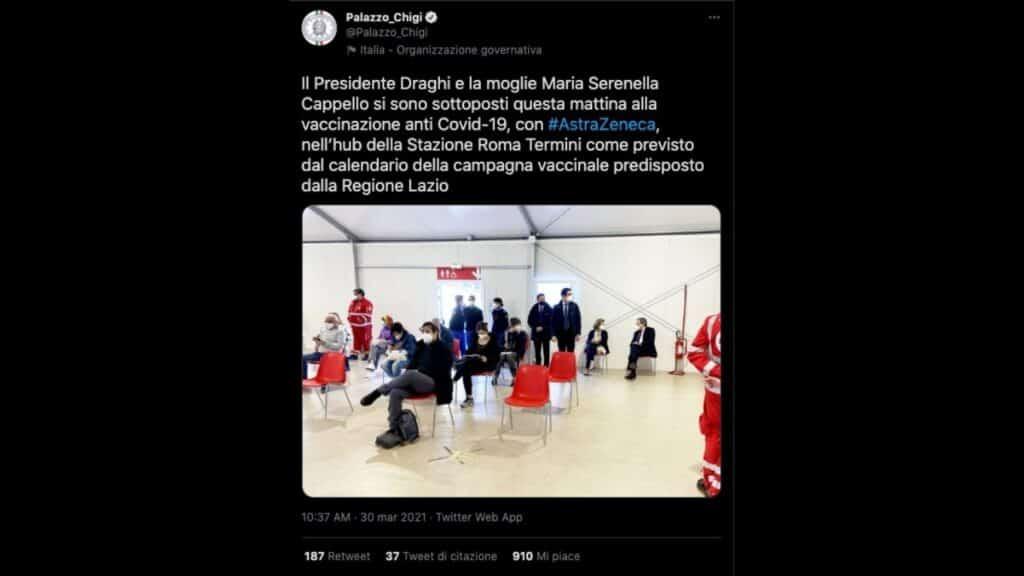 Draghi e moglie a Roma Termini per il vaccino AstraZeneca: le foto di Palazzo Chigi