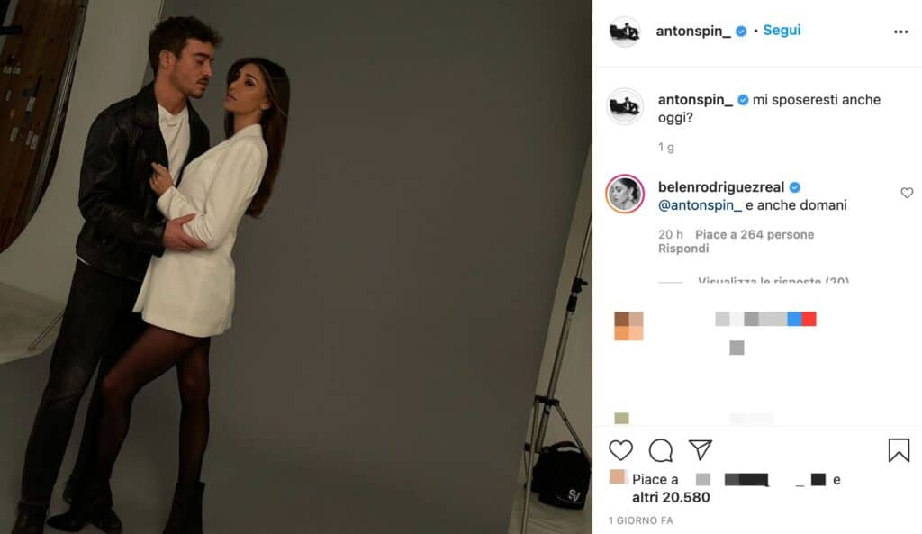 Il post su Instagram di Antonino Spinalbese