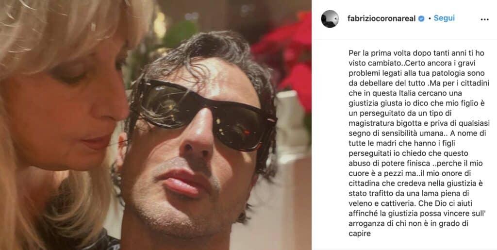 Il post Instagram di Gabriella Previtera