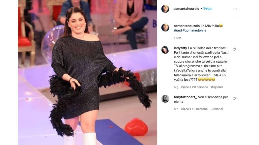 samantha curcio critiche alta infedeltà instagram