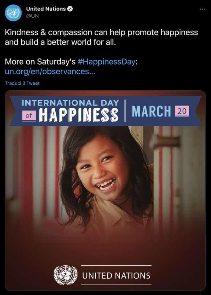 Il tweet delle Nazioni Unite per la Giornata internazionale della felicita