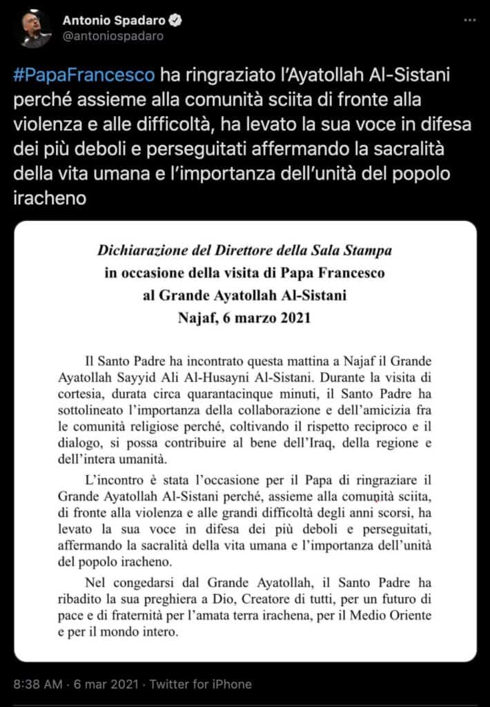 Il tweet di Antonio Spadaro