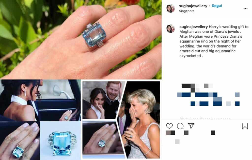 post instagram sull'anello di lady diana