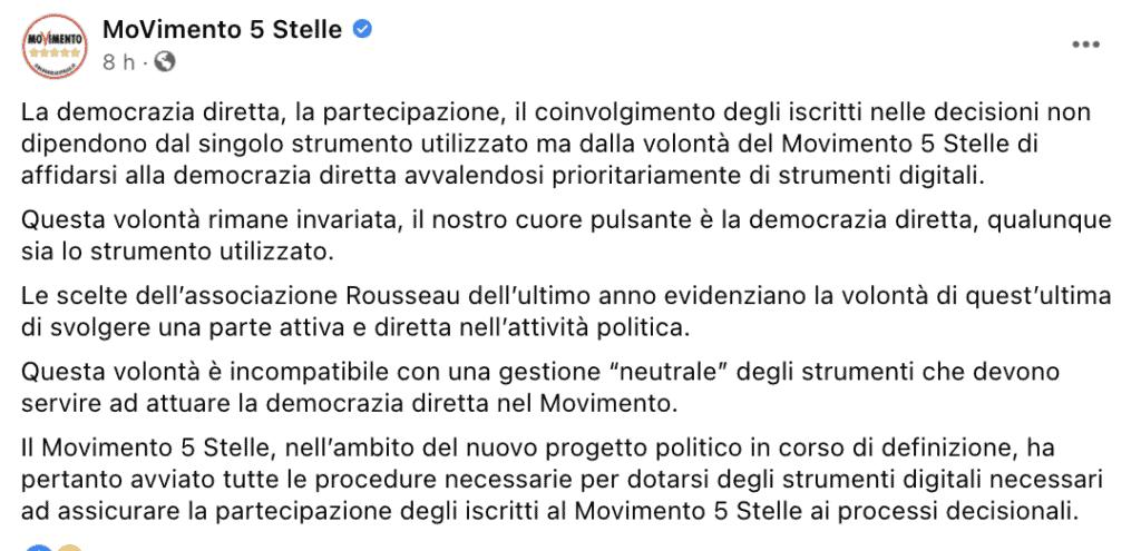 Il post del Movimento 5 Stelle