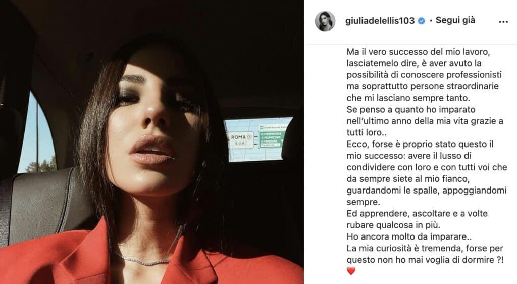 Il post di Giulia De Lellis