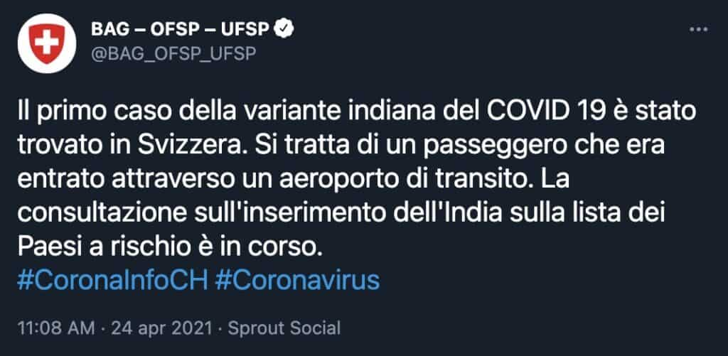 Il tweet dell'UFSP