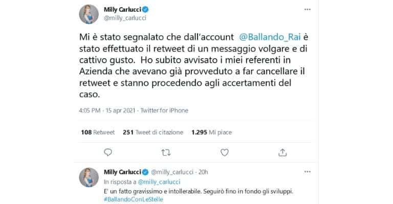 Milly Carlucci Tweet