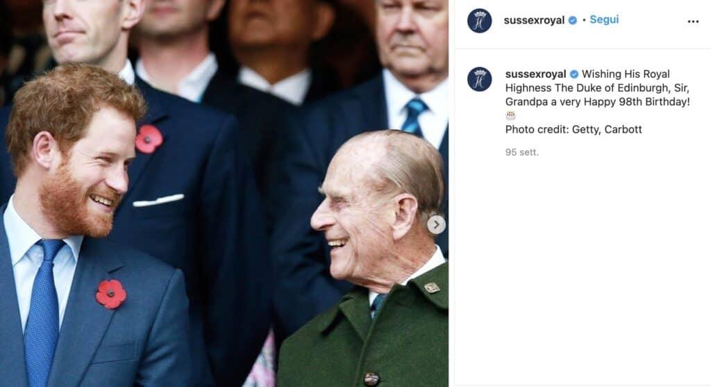 Il post Instagram pubblicato sull'account di Harry e Meghan per il compleanno di Filippo nel 2019