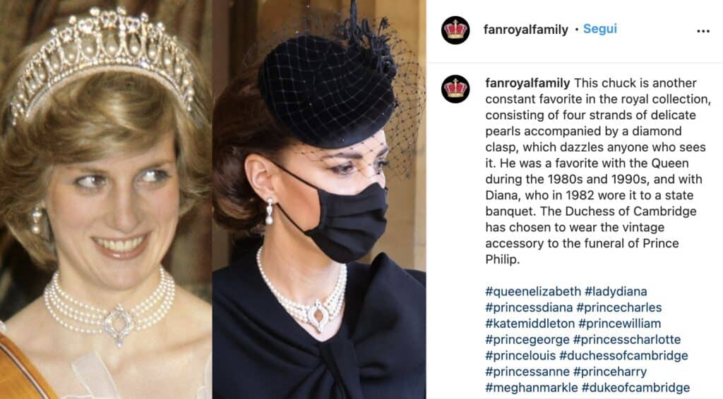 Post con La collana indossata da Lady Diana e Kate Middleton